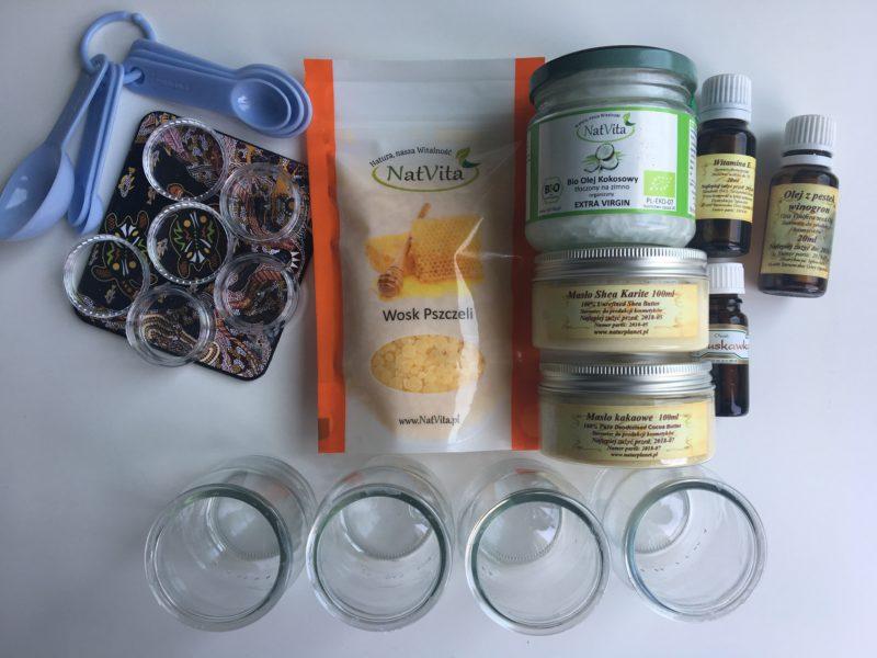 składniki na balsam do ust