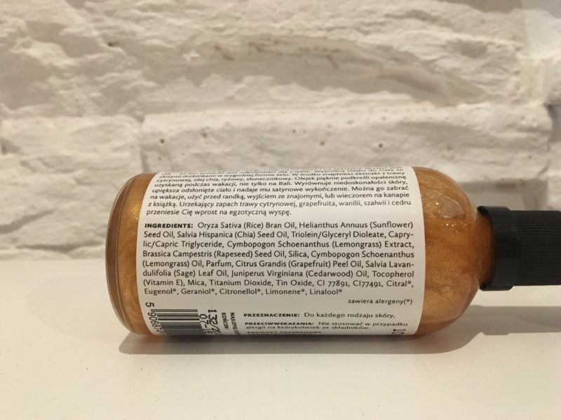 Olejek do ciała z olejem chia i drobinkami złota HAGI